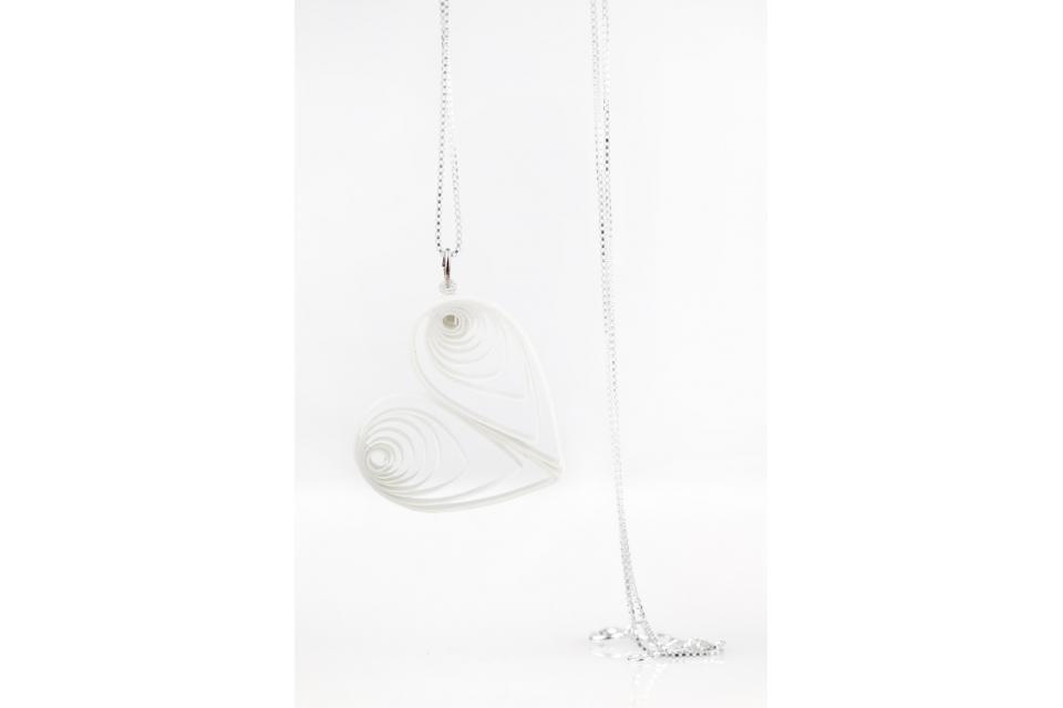 Handmade heart pendant, front view