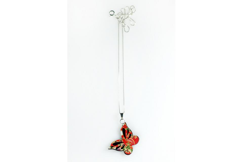 Paper butterfly short necklace for woman, front view
