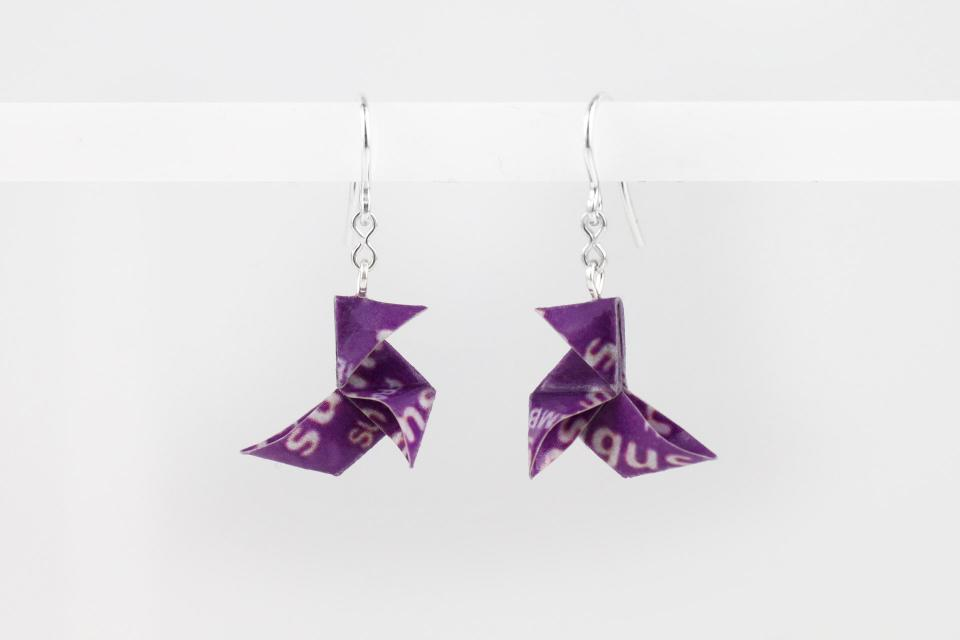 Origami bird earrings made of Sugus candy paper, front view