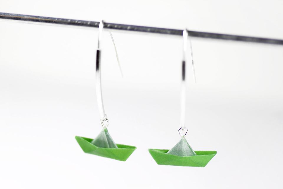 Original origami boat and silver earrings, front view