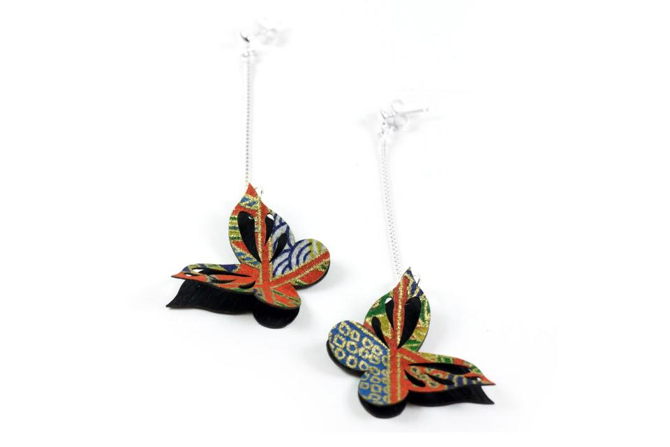 Butterfly earrings for woman on paper and sterling silver