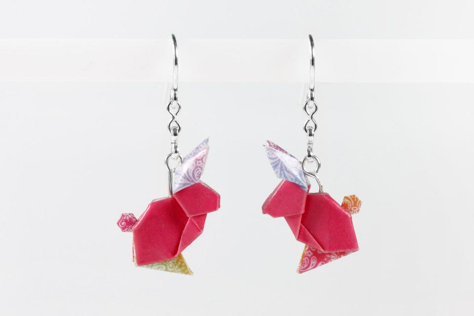 Pink and silver paper rabbit earrings