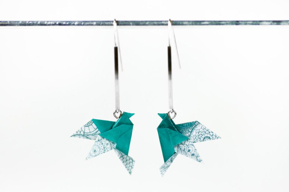 Long earrings with paper bird and silver, front view