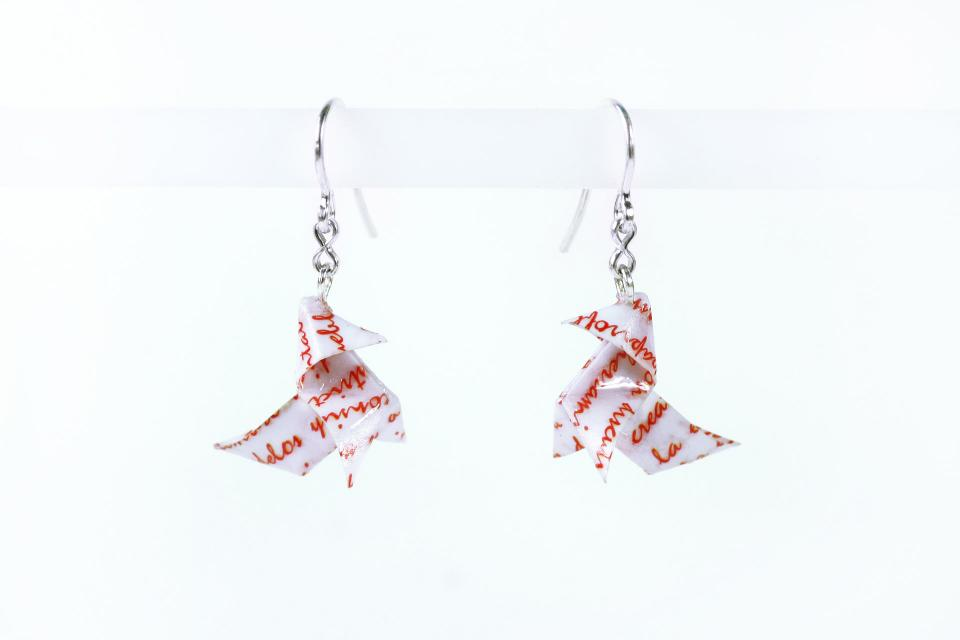 Origami bird earrings with letters on paper and silver