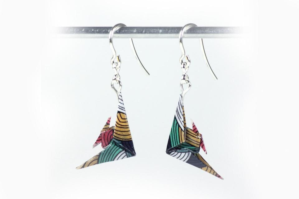 Earrings with paper fish and sterling silver for woman, front view
