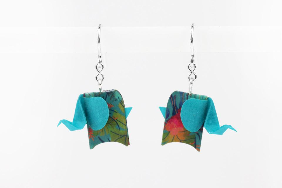 Blue elephant earrings in paper and sterling silver