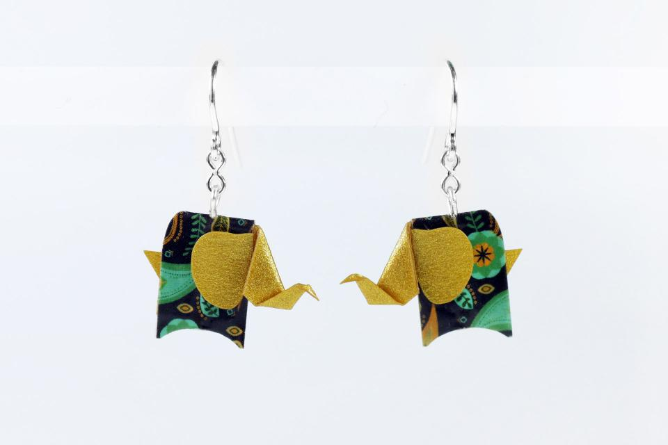 Gold elephant earrings in paper and sterling silver