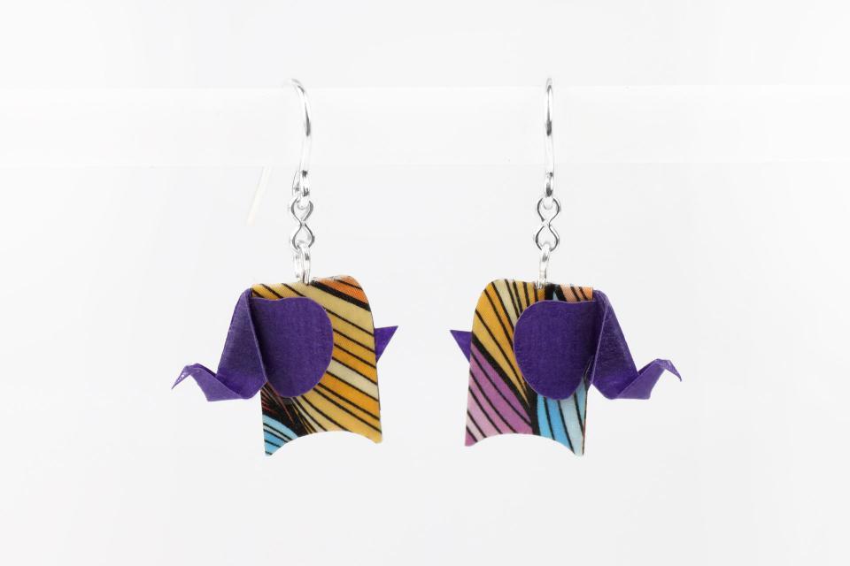Purple elephant earrings in paper and sterling silver