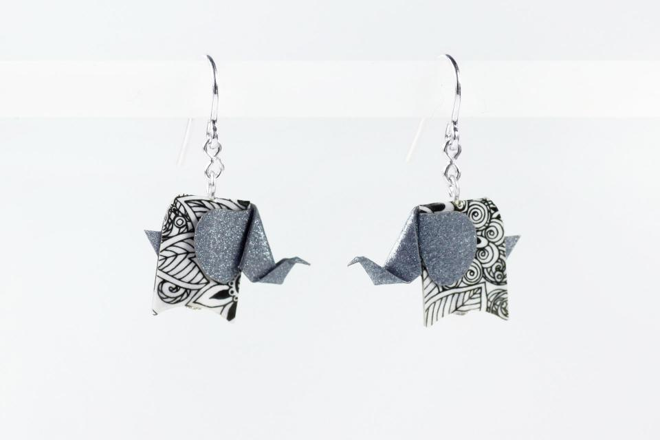 Silver and paper silver elephant earrings