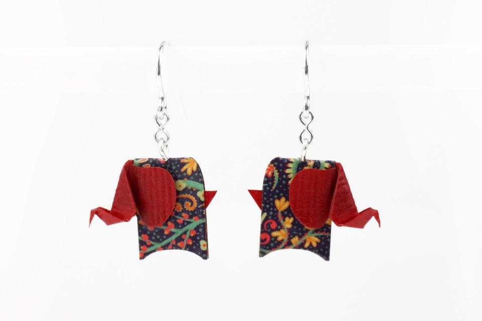 Red elephant earrings in paper and sterling silver