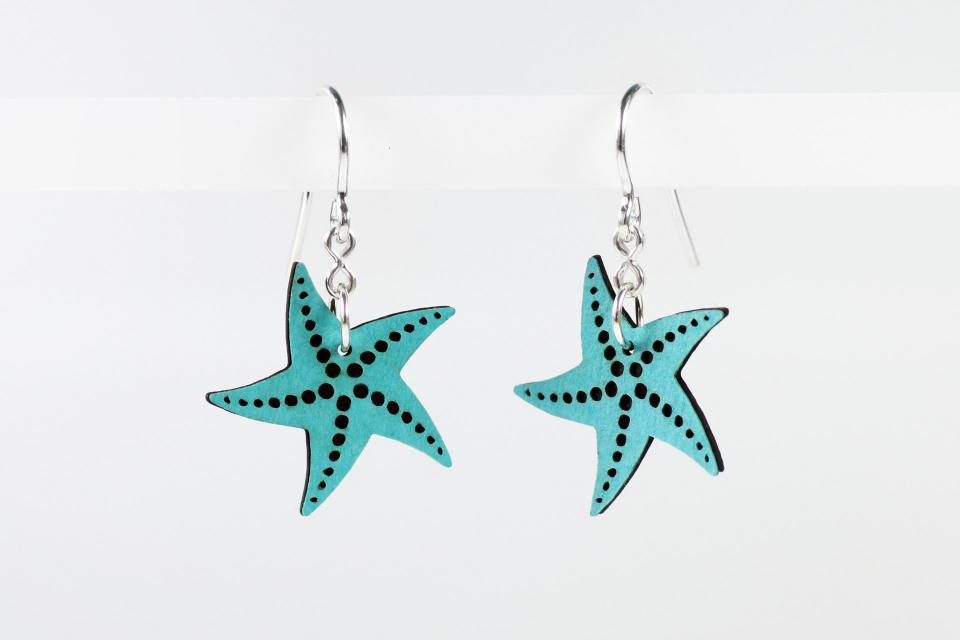 Pendientes estrella de mar azul en papel y plata de ley
