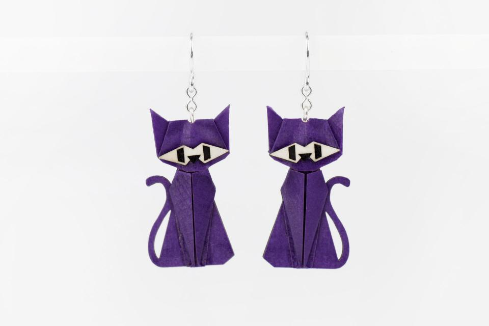 Purple cat earrings in paper and sterling silver