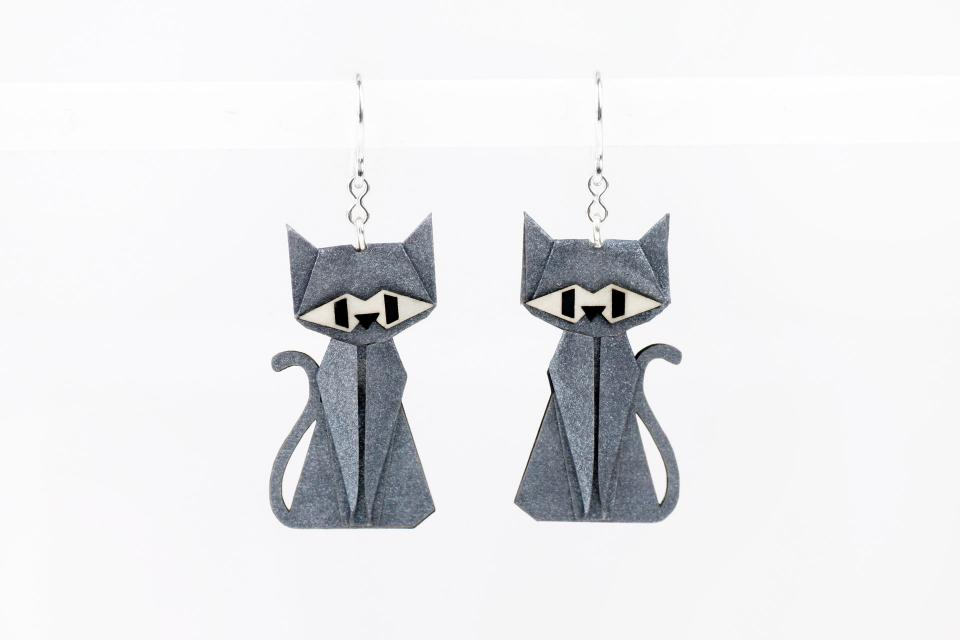 Silver and paper silver cat earrings