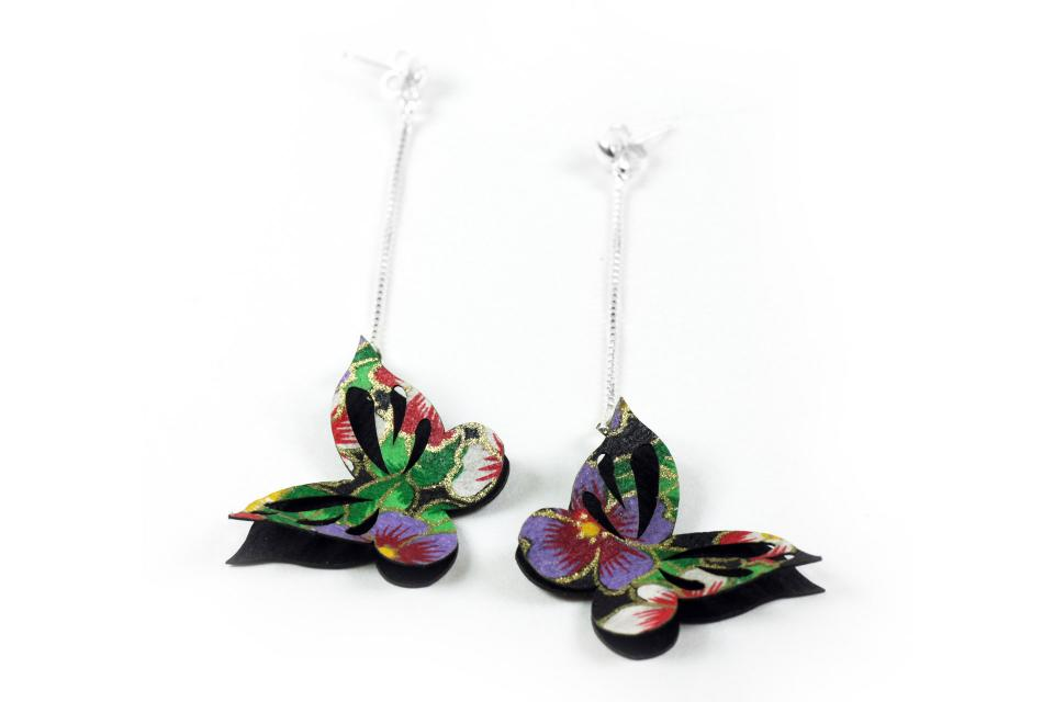 Butterfly on paper and sterling silver earrings for women