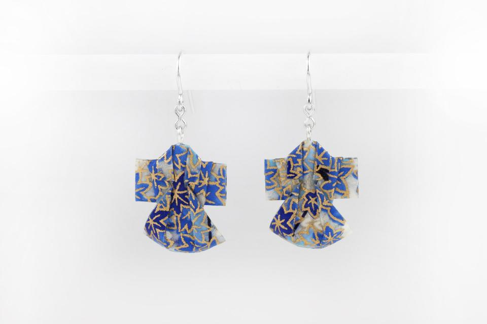 Origami kimono earrings, paper jewellery, front view