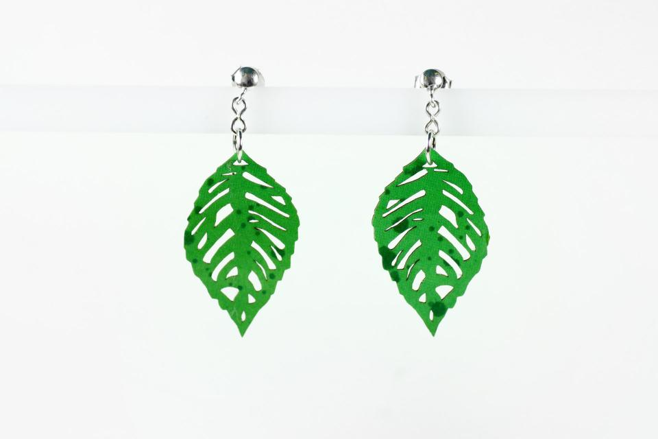 Original earrings for woman with leaves on paper, front view