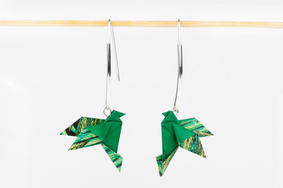 Creative earrings with origami bird and sterling silver, front view