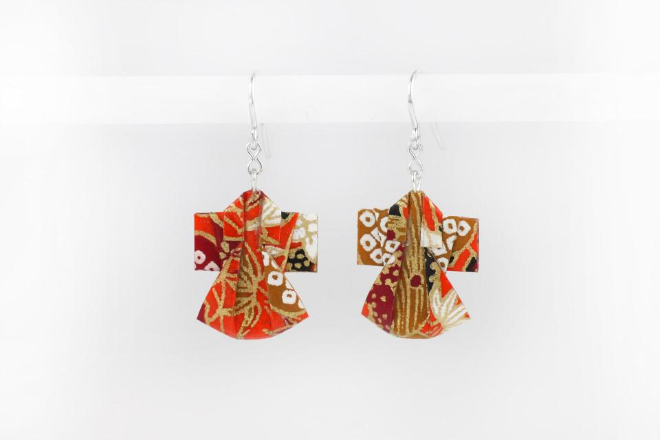 Origami kimono earrings on paper and silver, front view