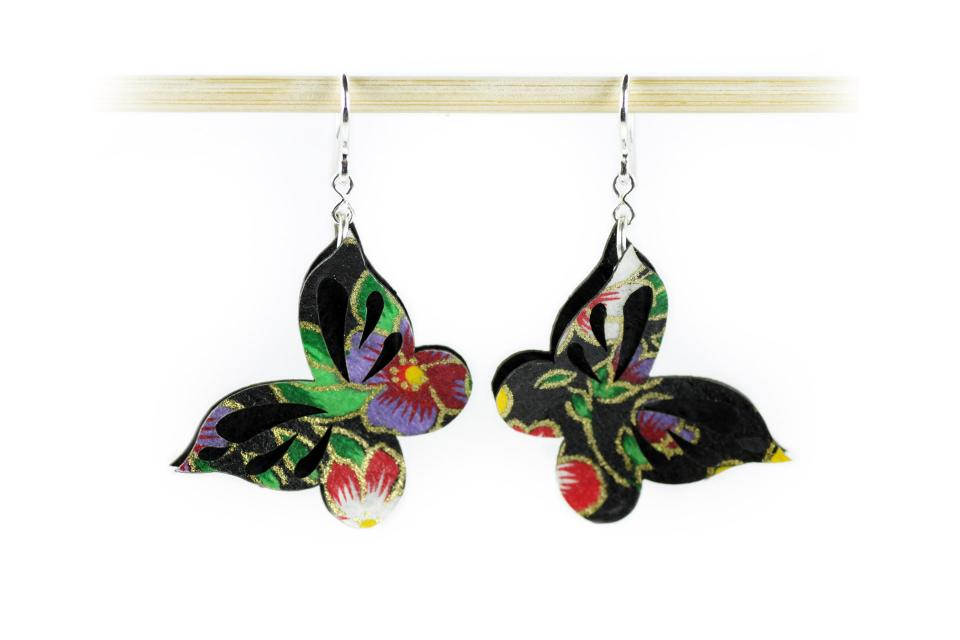 Butterfly earrings made of paper and 925 silver, front view