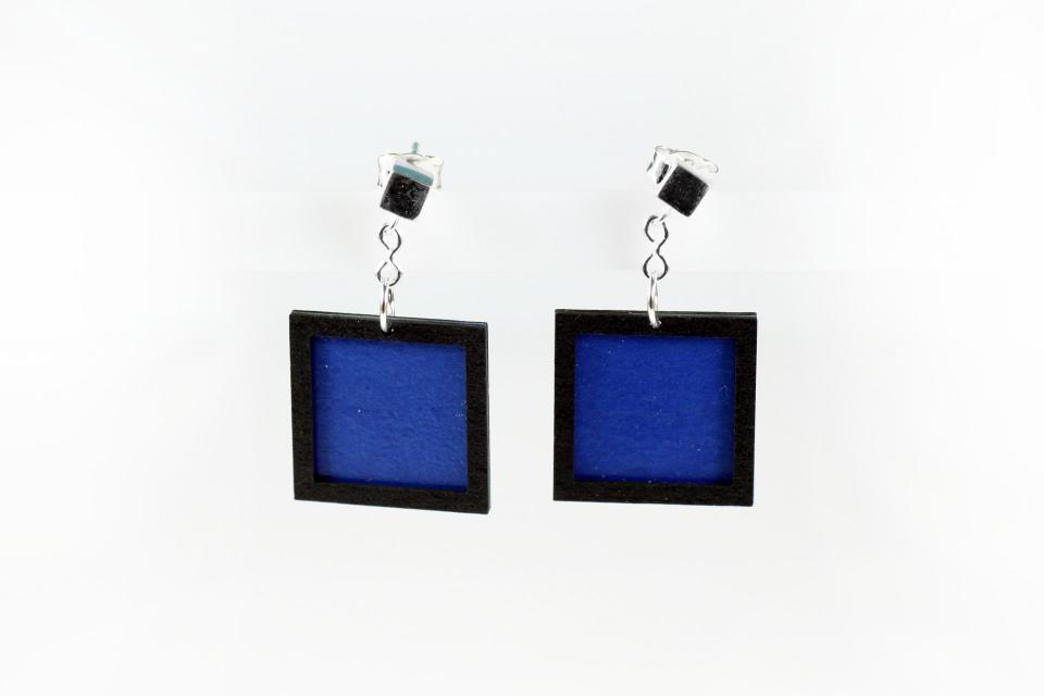 Lightweight handmade square earrings in paper and sterling silver, colour blue