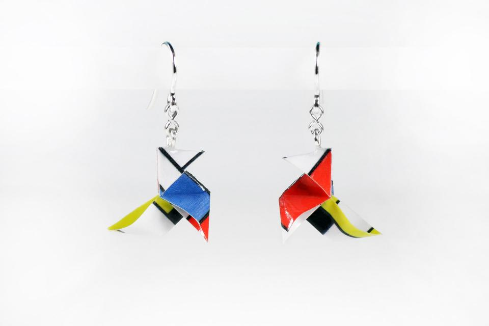 Earrings of minimalist design, architecture. Author's jewellery