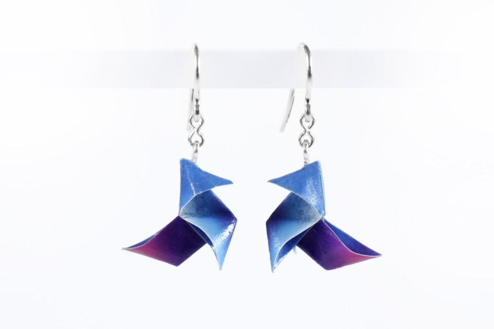 Origami bird earrings on paper and silver