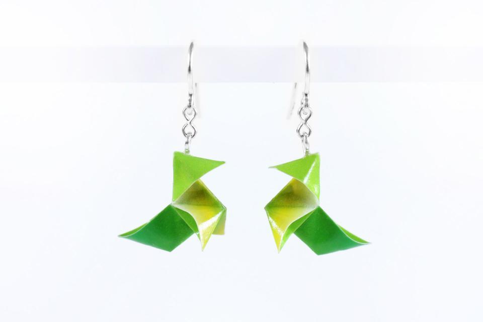 Original silver earrings and paper origami bird