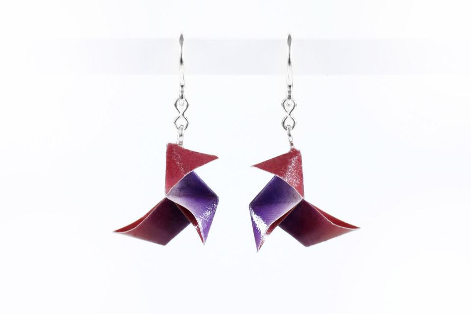 Earrings with origami bird on paper and silver