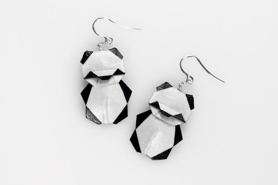 Earrings with origami panda bears mounted in silver