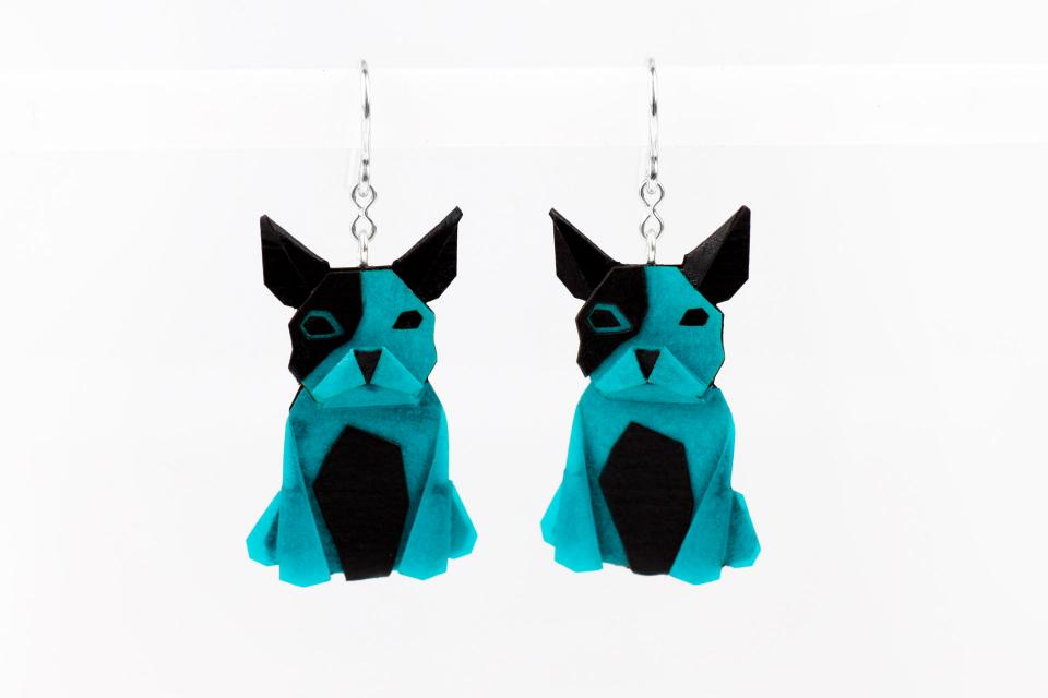 Blue dog earrings in paper and sterling silver
