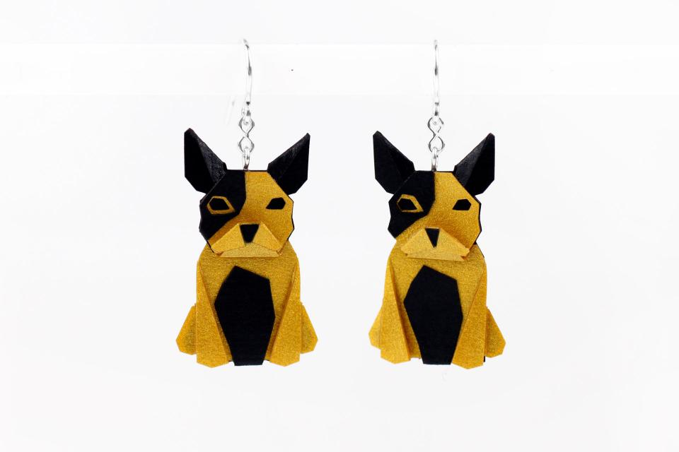 Gold dog earrings in paper and sterling silver