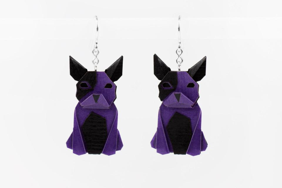 Purple dog earrings in paper and sterling silver