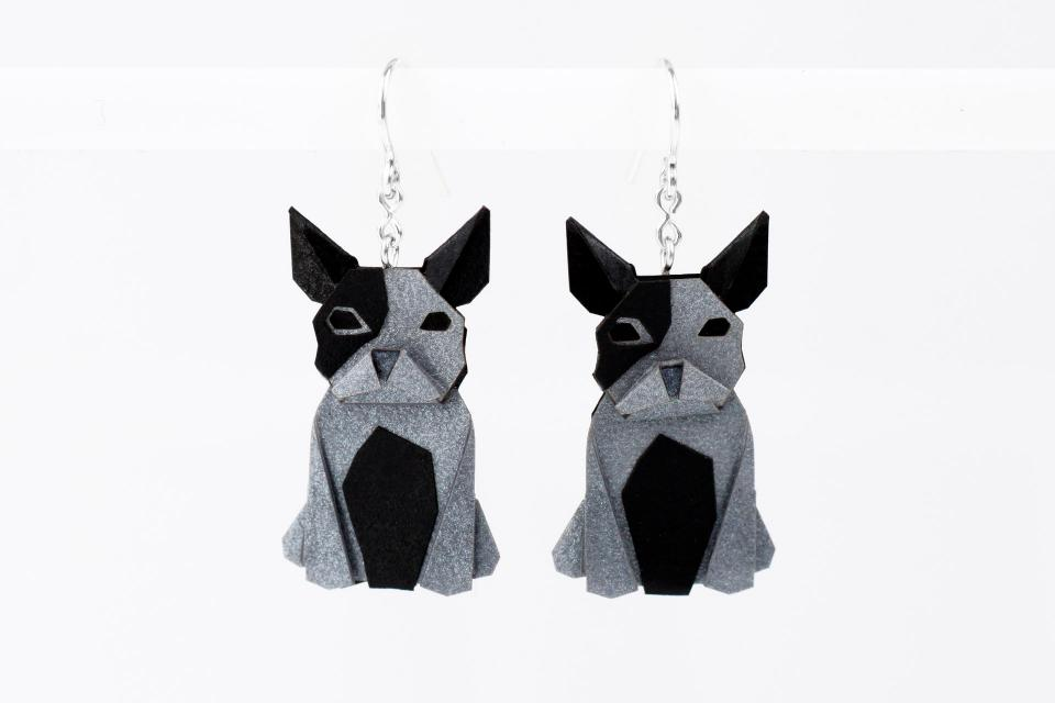 Silver and paper silver dog earrings