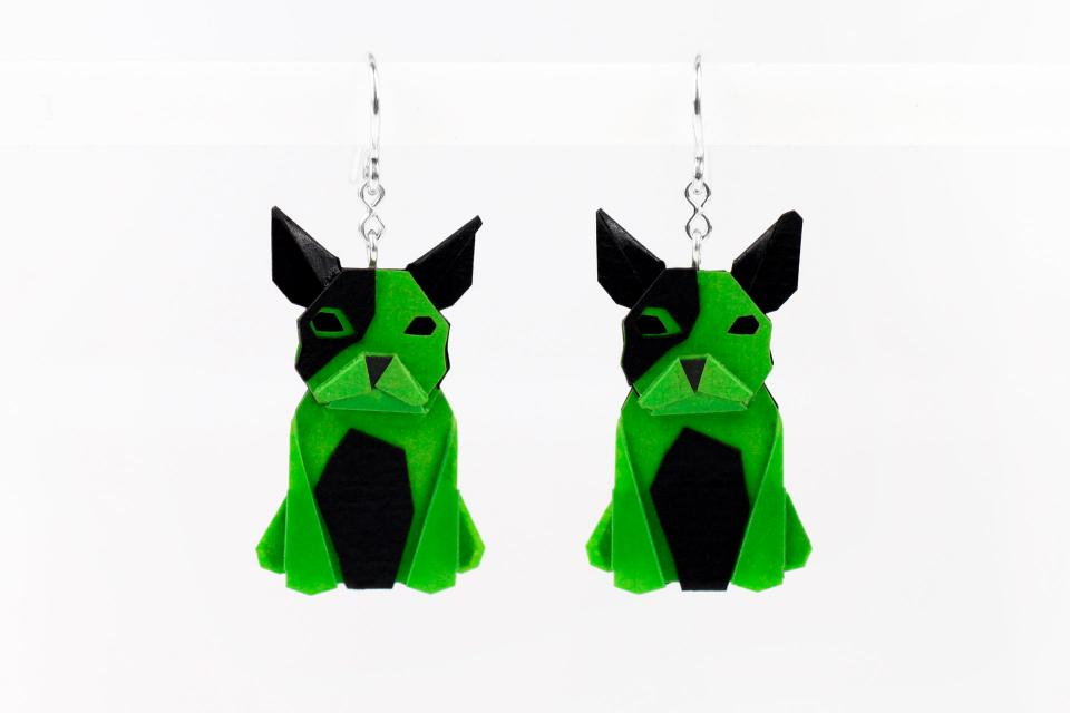 Green dog earrings in paper and sterling silver