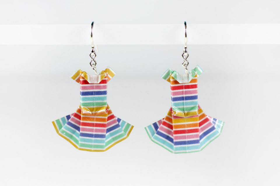 Dress earrings handmade on paper and silver, craft