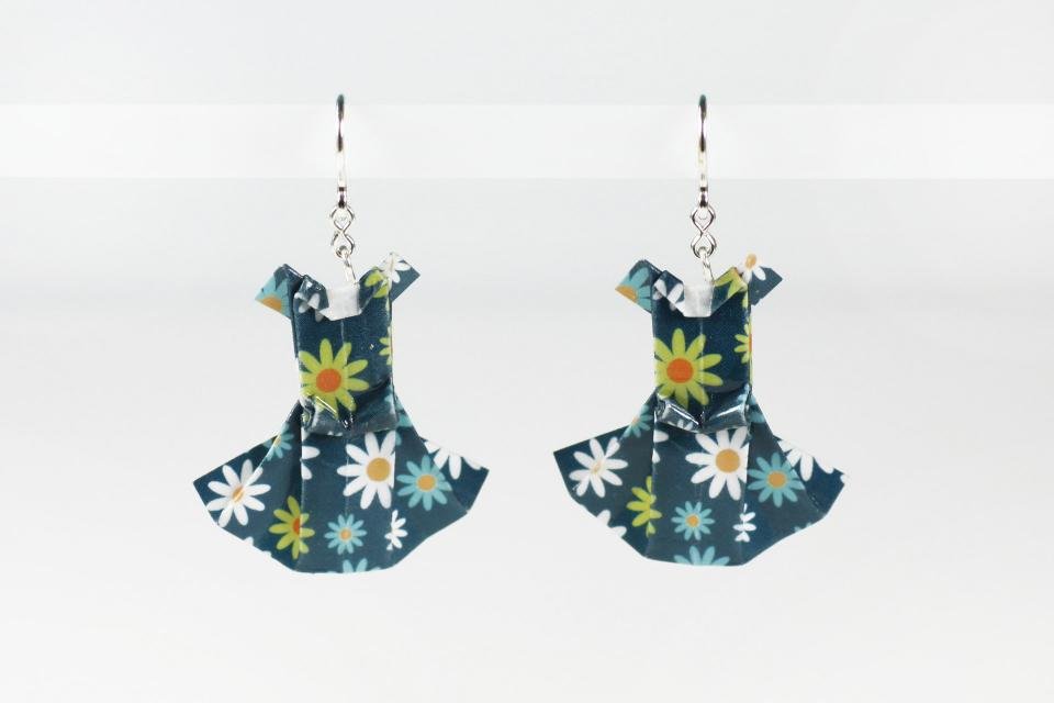 Dress earrings for women made of paper and sterling silver