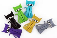Group of origami cats in assorted colors