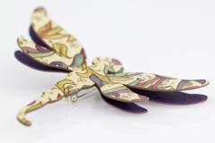 Original dragonfly brooch with safety pin for clothing