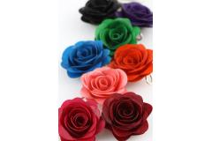 Coloured roses on paper and silver, women's pendants