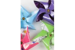 Pendants of craft paper pinwheels