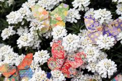 Several very nice paper butterfly-shaped clasps on flowers