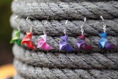 Earrings with origami bird on paper and silver, do not weigh