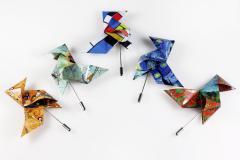 Conjunto de pajaritas de la colección Museums. Realizadas con la técnica de origami o papiroflexia. Consideradas como auténticas esculturas de papel