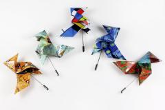 Colors and prints available from Origami bird brooches made in paper