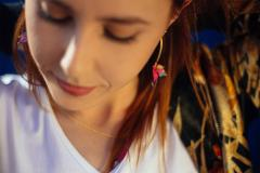Earrings with origami bird, gift for her
