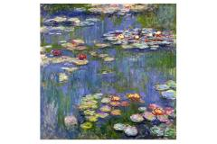 Artistic painting with beautifully coloured water lilies