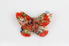 Butterfly brooch in red with Japanese print, front view