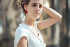 Paper jewellery, rose earrings in red, as a gift